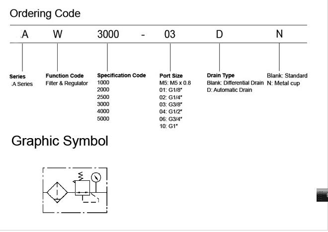 Filter Regulator Aw1000 5000 Series Filter Regulatorair Regulator